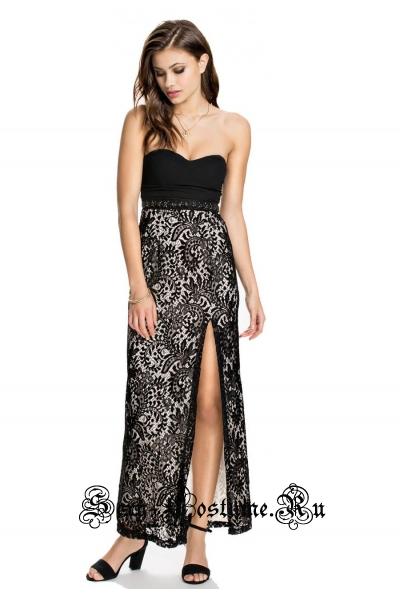 Платье длинное клубное черное-белое n6725