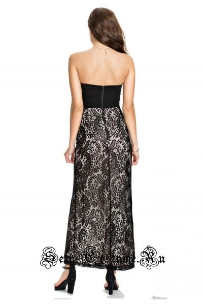 Длинное клубное платье с черными стразиками n6725