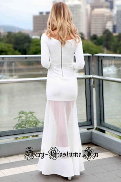 Белое платье длинное клубное n6732