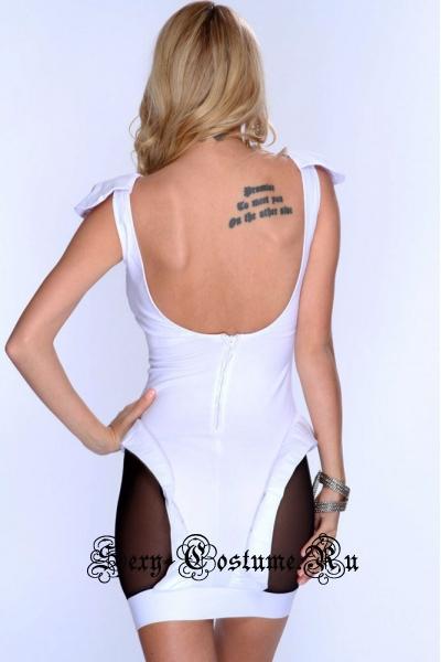 Белое платье с полупрозрачными черными вставками клубное n21682