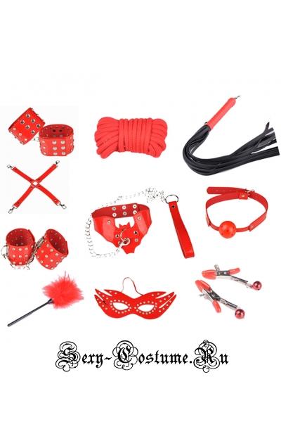 Красный комплект бдсм заклепки и шипы m8298