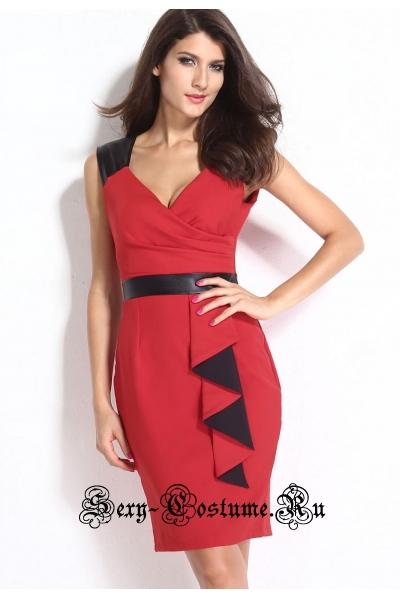 Красное платье клубное с черными вставками n21584