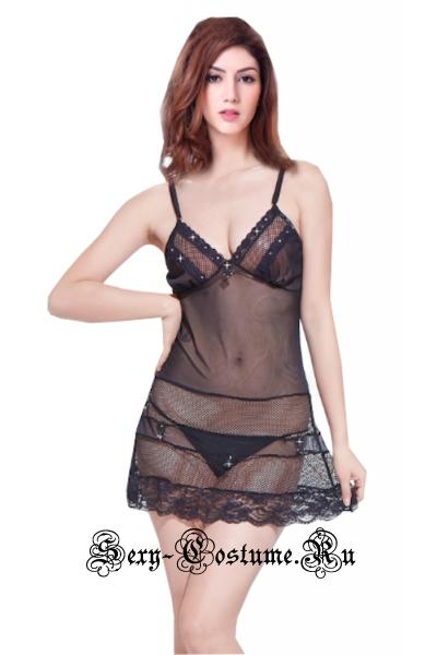 Сорочка черная со стразами удачный выбор nightks lu3584
