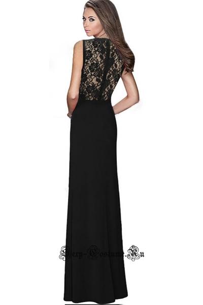 Черное платье длинное клубное n60018-2