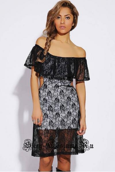 Платье белое с черным открытые бока и плечи d21642-3