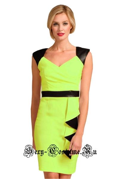 Желтое платье клубное с черным d21584-1
