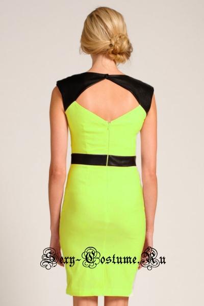 Желтое платье клубное с черными виниловыми вставками d21584-1