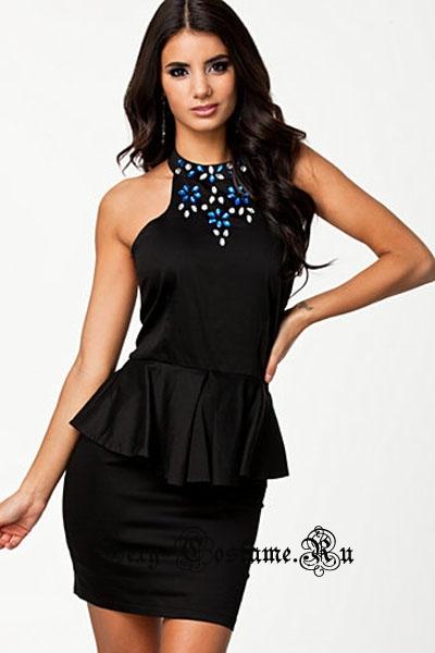 Черное платье  клубное с открытой спиной и аппликацией d21310