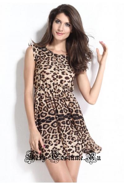 Леопардовое платье клубное d21105
