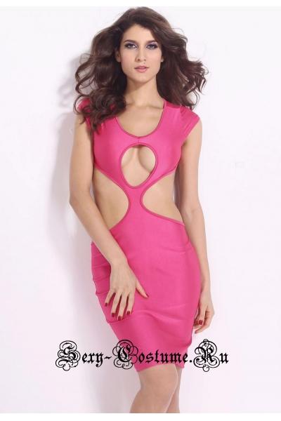 Розовое платье клубное с открытыми участками тела d21072