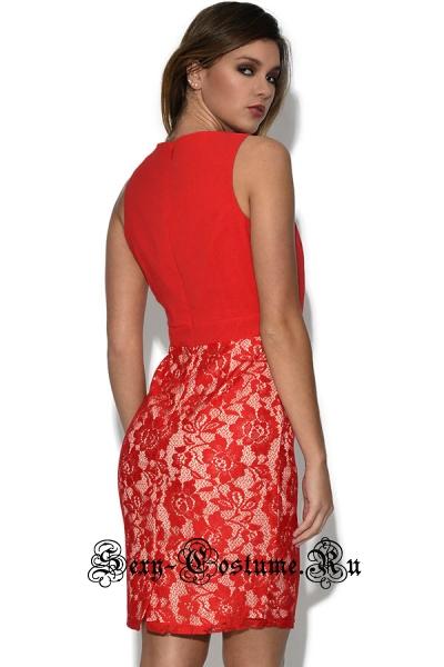 Красное платье клубное закрытое n21925