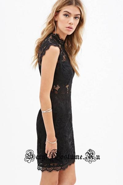 Черное платье клубное с узором n22076