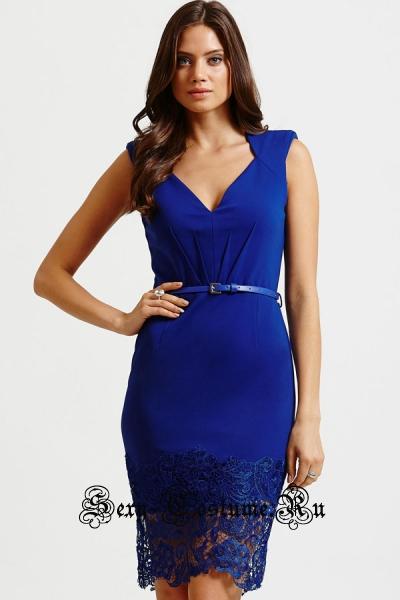 Синее клубное платье с поясом n21965