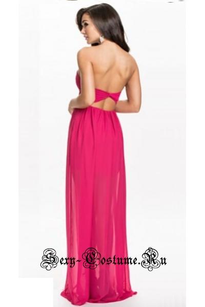 Розовое платье клубное с полупрозрачными элементами sw20146