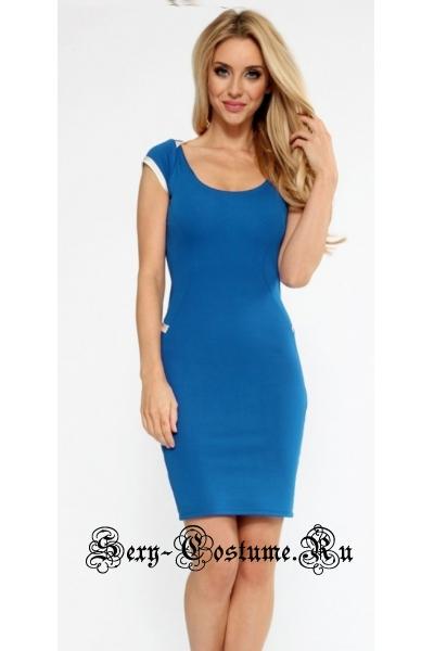 Платье синее с оголенной спиной клубное m8604