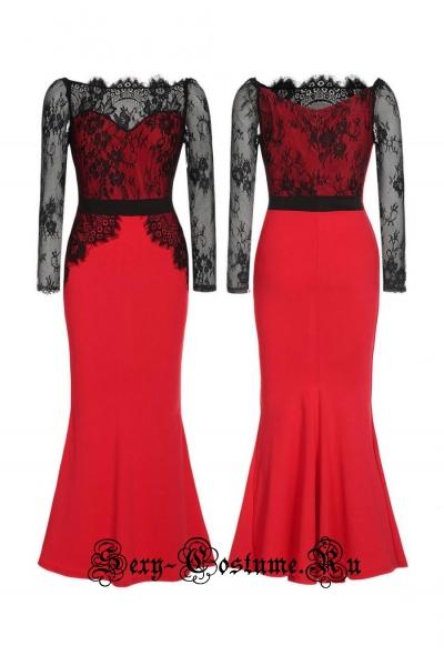 Красное платье длинное клубное полупрозрачный верх n60102