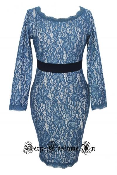 Синее платье клубное белое с синим n60137