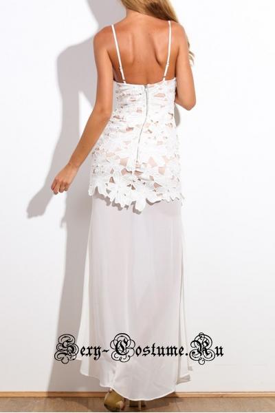 Белое платье длинное с белым узором n60142