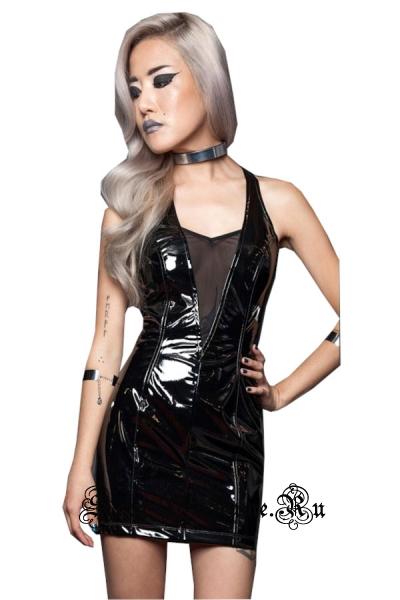 Лаковое черное платье клубное с полупрозрачной вставкой m1338